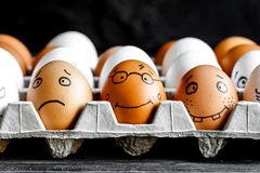 Concept social networks communication and emotions - eggs smile royalty free stock photo