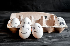 Concept social networks communication and emotions - eggs smile Stock Photography