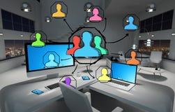 Concept social tiré par la main de media dans le rendu du bureau 3D Photos libres de droits