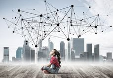 Concept of social wireless connection and internet use for commu Stock Images