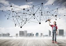 Concept of social wireless connection and internet use for commu Royalty Free Stock Image