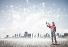 Concept of social wireless connection and internet use for communication by children stock photo
