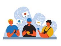 Concept sociale media marketing Bevorderingsmethode jongeren met smartphone zoals commentaar, die vrienden zoeken royalty-vrije illustratie