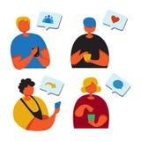 Concept sociale media marketing Bevorderingsmethode Vier jongeren met smartphone zoals commentaar, die vrienden zoeken vector illustratie