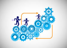 Concept of Software Development Life Cycle, The developer, business analyst, testers and support engineer running on the Cogwheel Royalty Free Stock Photo