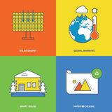 Concept of solar energy, global warming, smart house, paper recycling. Royalty Free Stock Photos