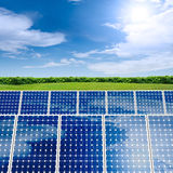 Concept of Solar Panel. In green environment Royalty Free Stock Images