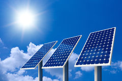 Concept of Solar Panel. And sun royalty free stock photography