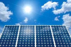 Concept of Solar Panel and Sun. Concept of Solar panel harness energy of the sun royalty free stock photography