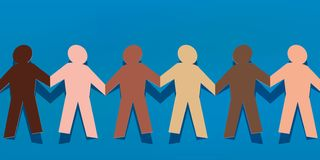 Symbol of solidarity between peoples with different colored paper characters holding hands stock illustration