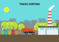 Concept of sorting of waste. Concept of sorting of waste and waste processing vector illustration