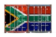 The concept of export-import and national delivery of goods. The concept of South Africa  export-import and national delivery of goods. Close-up of the container stock photos