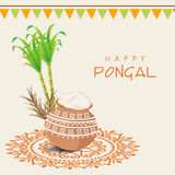 Concept of South Indian festival, Happy Pongal celebrations. Beautiful traditional mud pot with rice, sugarcane, wheat grain and bunting decoration for South Royalty Free Stock Images