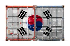 The concept of export-import and national delivery of goods. The concept of  South  Korea export-import and national delivery of goods. Close-up of the container stock photos