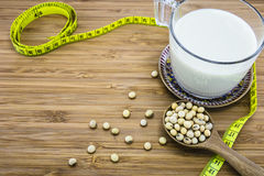 Concept of soymilk for diet and weight control Stock Photos