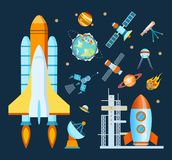 Concept space. Rocket, spacecraft, satellite launch, flight around the Earth. Concept of space. Rocket, spacecraft, satellite launch, tracking through a vector illustration