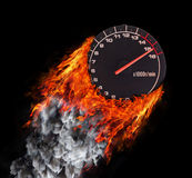 Concept of speed - Trail of fire and smoke Stock Photos
