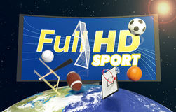 Concept of sport broadcast worldwide. Curved tv with full hd on screen, on top of a world globe, with symbols of various sports falling from the sky, concept of Royalty Free Stock Images