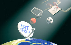 Concept of sport broadcast worldwide. Sat dish on top of a world globe, with symbols of various sports falling from the sky, concept of worldwide broadcast (3d Stock Images