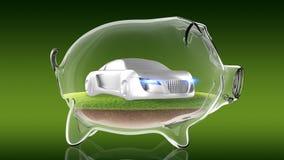 Concept sport car inside transparent piggy bank. 3d rendering Royalty Free Stock Images