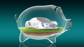 Concept sport car inside transparent piggy bank. 3d rendering Royalty Free Stock Photo