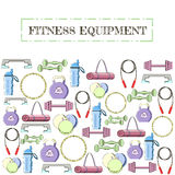 Concept of sport equipment background. Vector illustration icon set Royalty Free Stock Photo