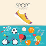 Concept of sport infographics. Icons for web: fitness, sport equ Stock Images
