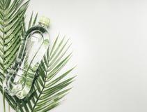 Concept sportlevensstijl, transparante fles met water en groen deksel tegen de achtergrond van tropische installaties, ruimte voo royalty-vrije stock fotografie