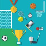 Concept of sports equipment in flat style. Royalty Free Stock Images