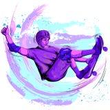 Concept of sportsman doing skateboard stunt. Vector illustration Royalty Free Stock Image