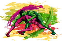 Concept of sportsman doing Wrestling. Vector illustration Royalty Free Stock Photography
