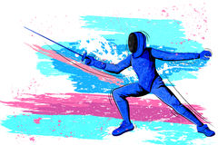 Concept of sportsman playing Fencing Stock Photos