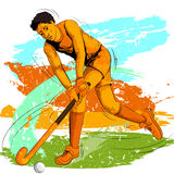 Concept of sportsman playing Field Hockey Stock Photos