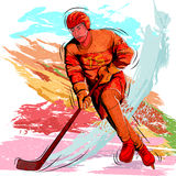 Concept of sportsman playing Ice Hockey Royalty Free Stock Image