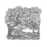The concept of spring and bloom. Blossoming cherry tree, apple t. Ree. In the style of pointillism Royalty Free Stock Photo
