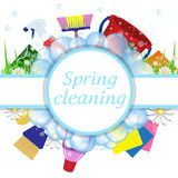 Concept spring cleaning service. Tools for cleanliness stock illustration