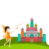 Concept sprookjes met engel en paleis royalty-vrije illustratie
