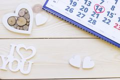 Wooden background with a calendar stock image