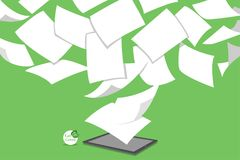 Concept of stack white paperless go green royalty free illustration