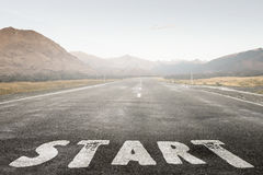 Concept of start straight for business . Mixed media Stock Photo