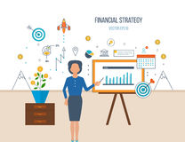 Concept for start up business and finance strategy. Investment growth. Color line flat design composition and infographics elements concept for start up Royalty Free Stock Photography