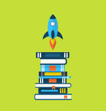 Concept of start up idea, flat icons of heap textbooks and rocket stock illustration