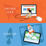 Concept of start up, pay per click web advertising Royalty Free Stock Photo