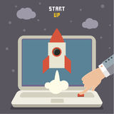 Concept of start up rocket on gray Stock Photography