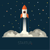Concept of start up rocket in sky Royalty Free Stock Photography