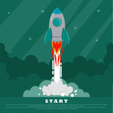 Concept of Start up. The space rocket flies into space. Starry sky on the background. Conceptual image. Place for your Royalty Free Stock Photo
