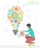 Concept of startup. Make ideas come to life . Work your creativity stock illustration