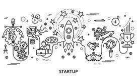 Concept of startup project for graphic and web design. Modern editable vector illustration, concept of startup project, business strategy and innovation Stock Images