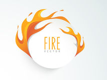 Concept of sticker, tag or label with fire. Royalty Free Stock Photos