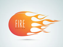 Concept of sticker, tag or label with fire. Stylish sticker, tag or label of fire flame on gradient background Stock Photos